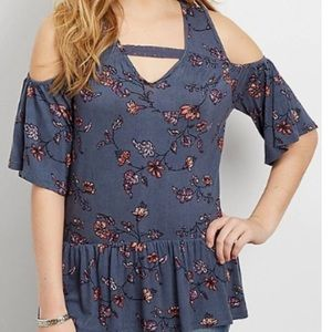 NWT Maurice's Floral Cold Shoulder Top